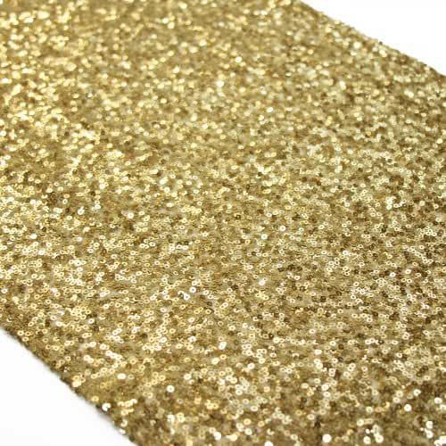 Koyal Sequin Table Runner, 12 by 108-Inch, Gold