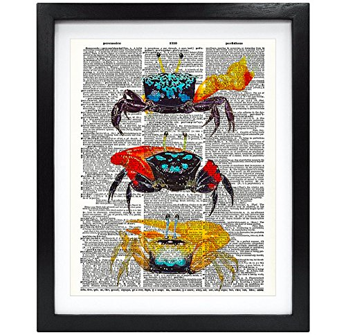 8X10 Unframed Vintage Fiddler Crab Upcycled Vintage Dictionary Art Print Book Art Print Home Decor Funny Prints Wall Art (Funny Crab)