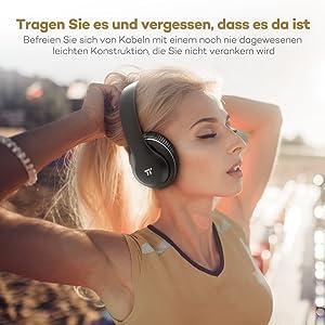 TaoTronics Bluetooth Kopfhörer Kopfhörer bis zu 15 Stunden Spielzeit