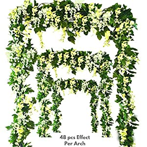 Miss Bloom Artificial Wisteria Vine – 12-Pack 3.6 Ft Spring Hanging Flowers Décor | Silk Plants Garlands for Sweet Home Kitchen Wall |Fake Plant Rattan for Outdoor Wedding Party Decorations (Green)
