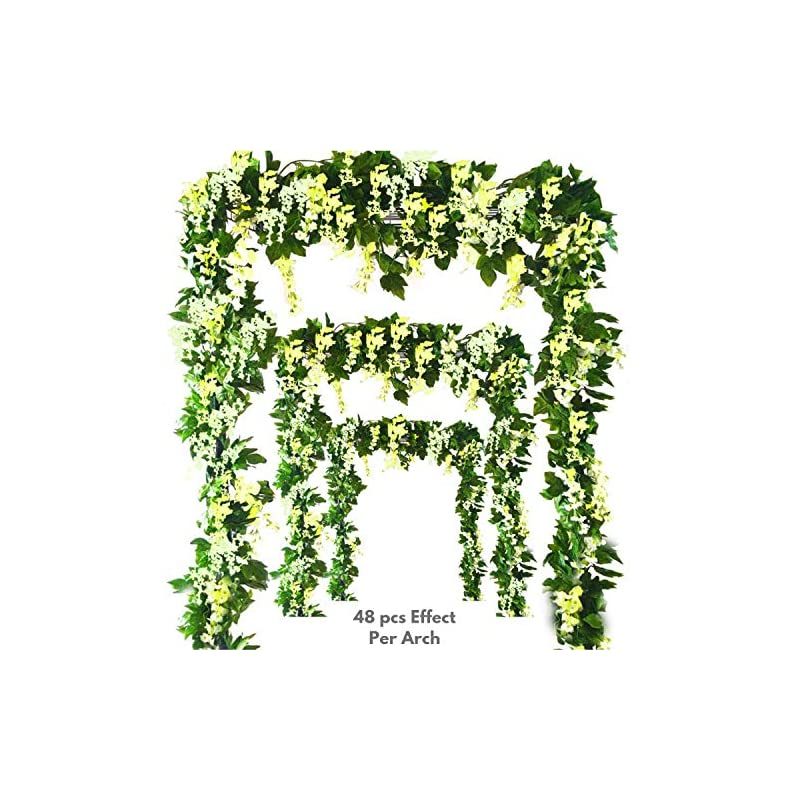 silk flower arrangements msbloom artificial wisteria vine - 12-pack 3.6 feet spring hanging flowers decor, silk plants garlands for sweet home kitchen wall, fake plant rattan for outdoor wedding party desk decorations (green)