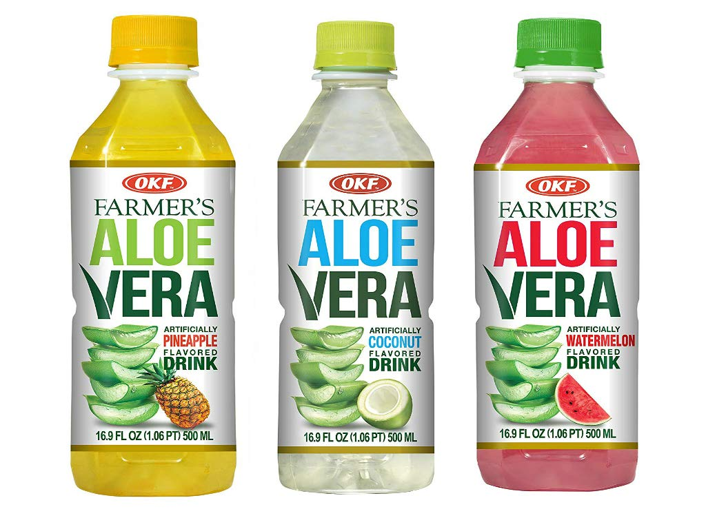 OKF Farmer's Aloe Vera Drink, Watermelon (16.9 Fl Oz, Watermelon, Pineapple, Coco)