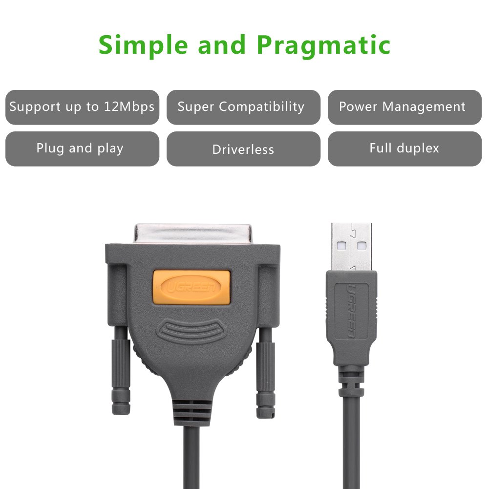 Usb To Ieee 1284 Wiring Diagram Library Cables Amazoncom Ugreen Db25 Parallel Printer Cable Adapter Male Female Connector
