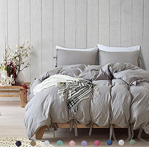 Queen Bow (Bowknot Bow Tie Ribbon Butterfly Bowtie Duvet Cover Set Meaning4 Polyester Full or Queen Size Light Gray or Grey 3 pcs(1 duvetcover +2 pillowcase))