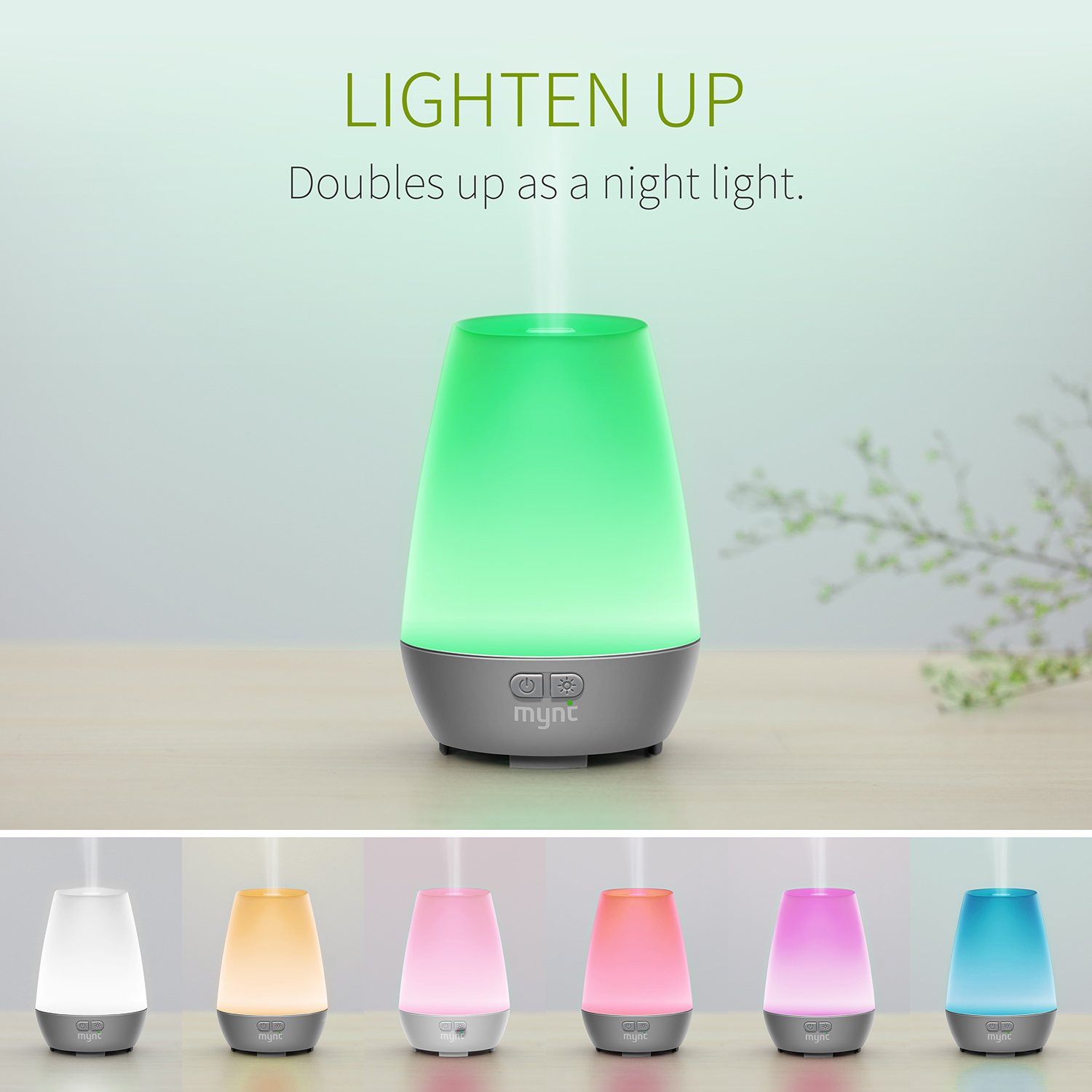 3f3236039e0 Amazon.com   Mynt Essential Oil Diffuser Cool Mist 100ml Humidifier 10+  Hours with 7 Colors LED Lights BPA Free Waterless Auto Shut-Off for Home  Office ...
