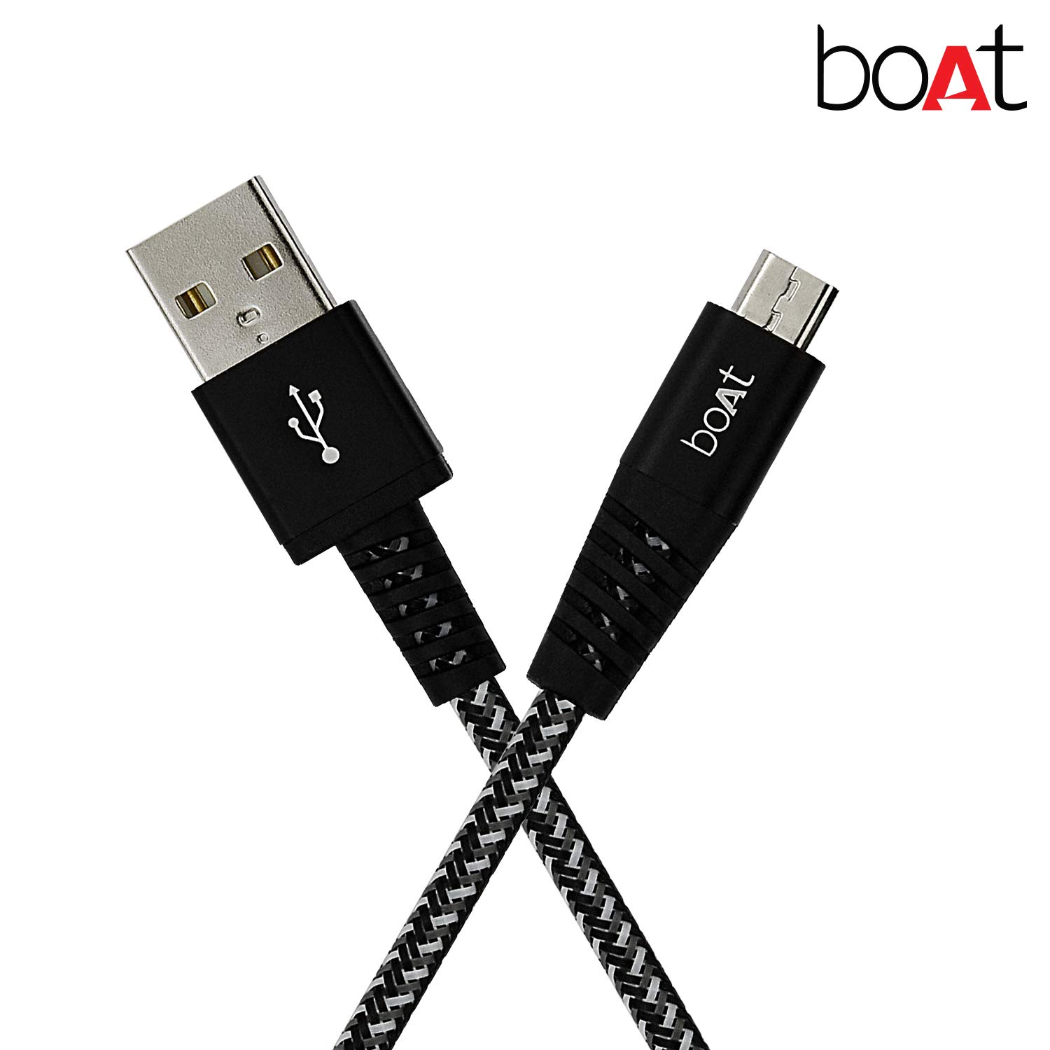 boAt Rugged v3 Extra Tough Unbreakable Braided Micro USB Cable 1.5 Meter (Black) at Rs.99