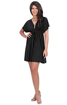 Caftan V Neck Beach Summer Kimono Sleeve Sexy Mini Dress At Amazon