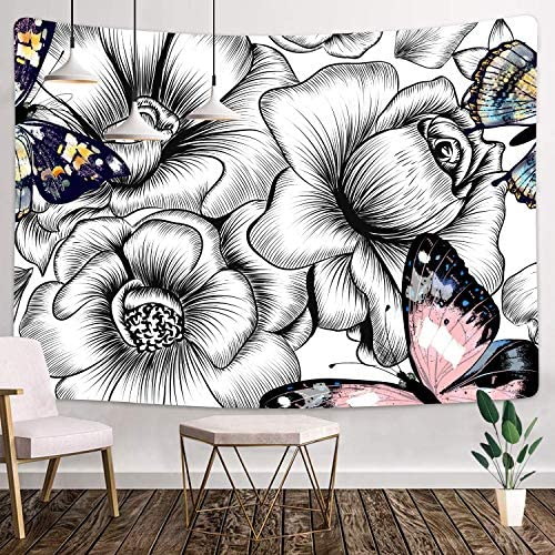 MEETSIOY Big Art Black and White Flowers Tapestry 80×60 Inches Colorful Butterflies Tapestry for Children Adults Room Decoration Living Room Bedroom Dormitory Wall Hanging GTLLMT28