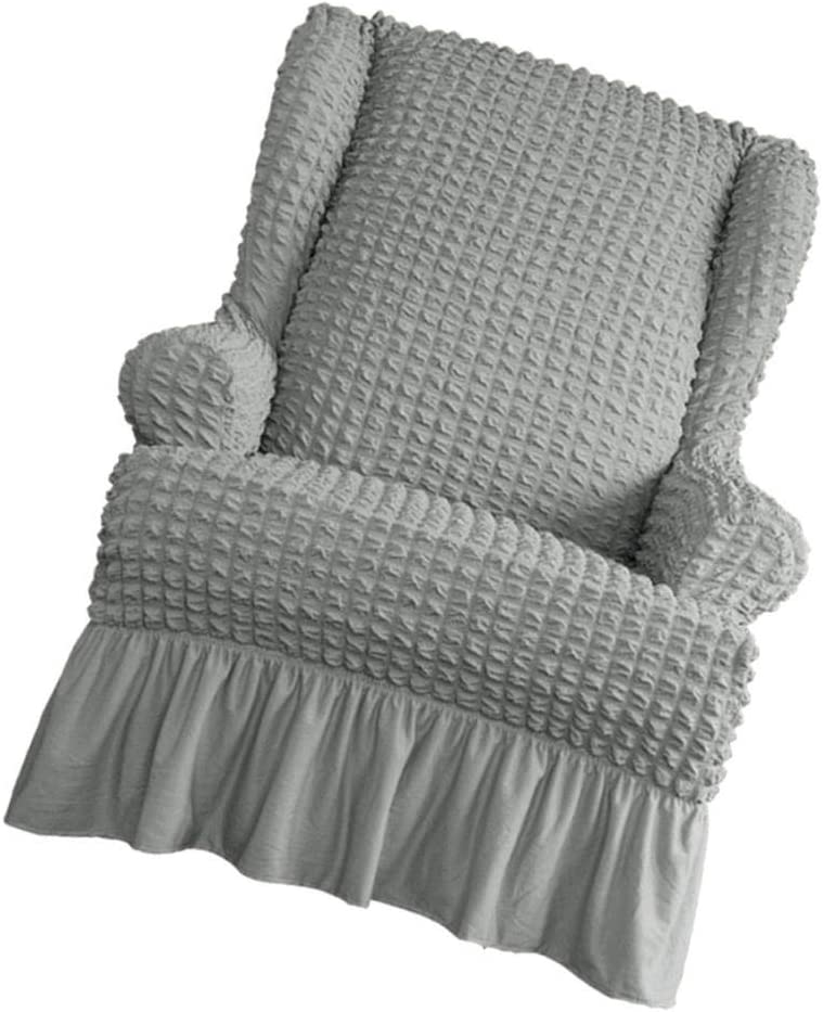 LOVIVER Sesselbezug mit R/üschen Sessel-/Überw/ürfe Ohrensessel /Überzug Sofabezug Stretchbezug Stretchhusse Beige