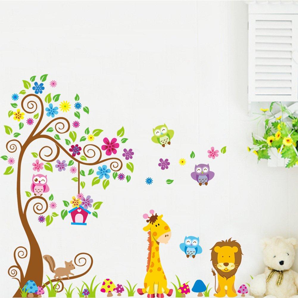 1 X Dschungel-Zoo: Eulen auf Baum mit Giraffe und Löwe unter für ...