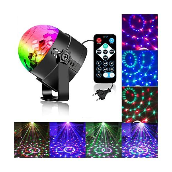 61ZQLc9kHFL. SS600 - Zacfton Mini LED Lichteffekte Disco Licht Party Licht Bühnenbeleuchtung 3W RGB Sprachaktiviertes Kristall Magic Ball Bühnenlicht für KTV Xmas Party Hochzeits-Show Club mit Fernbedienung