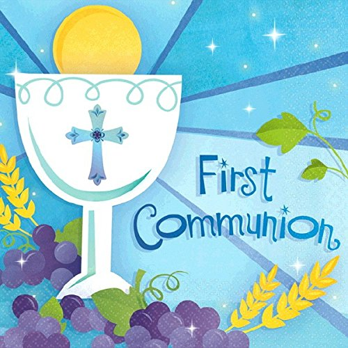 (Blue First Communion Beverage Napkins Religions Party Disposable Tableware, 5