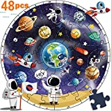 iPlay, iLearn Wooden Solar System Jigsaw Puzzle Toy. Planet Learning, Astronauts N Space Ships. Early Educational Gift for Age 1, 2, 3, 4, 5, 6, 7 Year Olds Kids, Boys, Girls & Toddlers - 48 pcs