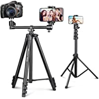 UBeesize 67'' Phone Tripod Stand & Selfie Stick Tripod Bundle with 50-inch Portable Horizontal Phone Tripod Stand