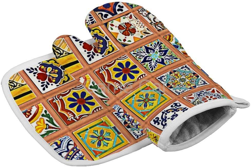 Talavera Mexican Tiles Oven Gloves Microwave Gloves Barbecue Gloves Kitchen Cooking Bake Heat Resistant Gloves Combination
