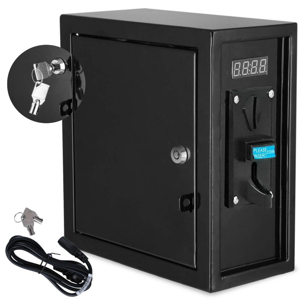 Pevor Coin Operated Timer Control Power Supply Box Coin Acceptor Programmable Control Coin Acceptor Multi Coin Selector for Vending Machine Electronicial Device 110V USA Warehosue (Black)