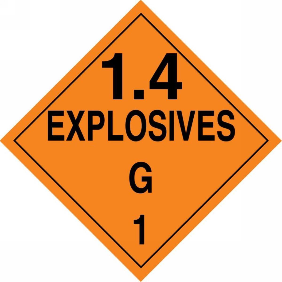 Accuform Signs MPL132VS1 Adhesive Vinyl Hazard Class 1/Division 4G DOT Placard, Legend '1.4 EXPLOSIVES G 1', 10-3/4' Width x 10-3/4' Length, Black on Orange Legend 1.4 EXPLOSIVES G 1 10-3/4 Width x 10-3/4 Length