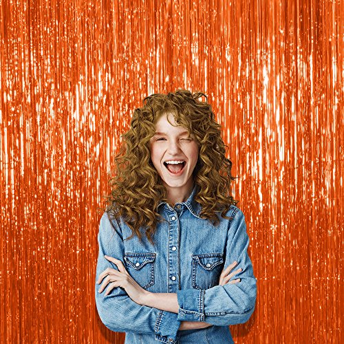 Pack of 3 Orange Sparkling Foil Tinsel 3 x 8 Feet Curtains Photo Booth Fringe Backdrop Decorations Metallic Hanging Door Streamers for Back Drop Disco Party]()