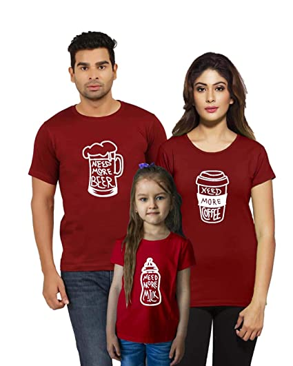 ff261dc1ae8 Jopo Mom, Dad and Kids Cotton Matching Family T-Shirt (Maroon) -Set ...