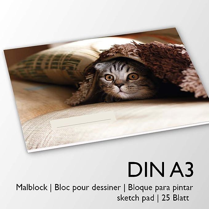 Katzenmotiv extra stark 120g//m² Zeichenblock Malblock mit 20 Blatt