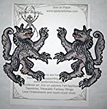 A Pair of Grey Wolves Wolf Rampant Heraldic Heraldry Iron on Patch Sew on Applique