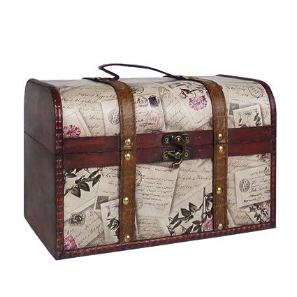 Tamaño grande diseño de rosas de madera caja de almacenamiento tronco – Ideas para Navidad,