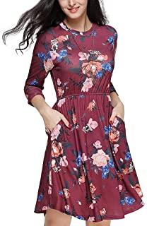 4a5af027dd264 Casual Dresses for Women Floral Tunic Dress Long Sleeve T Shirt Dress O  Neck Swing Dress with…