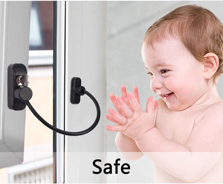 Proster Fenster Restriktor Sschloss 4 St/ück Sicherheitskable f/ür Kinder Baby Sicherheitsschloss /Öffnungsbegrenzer mit Schrauben und Schl/üssel Schwarz