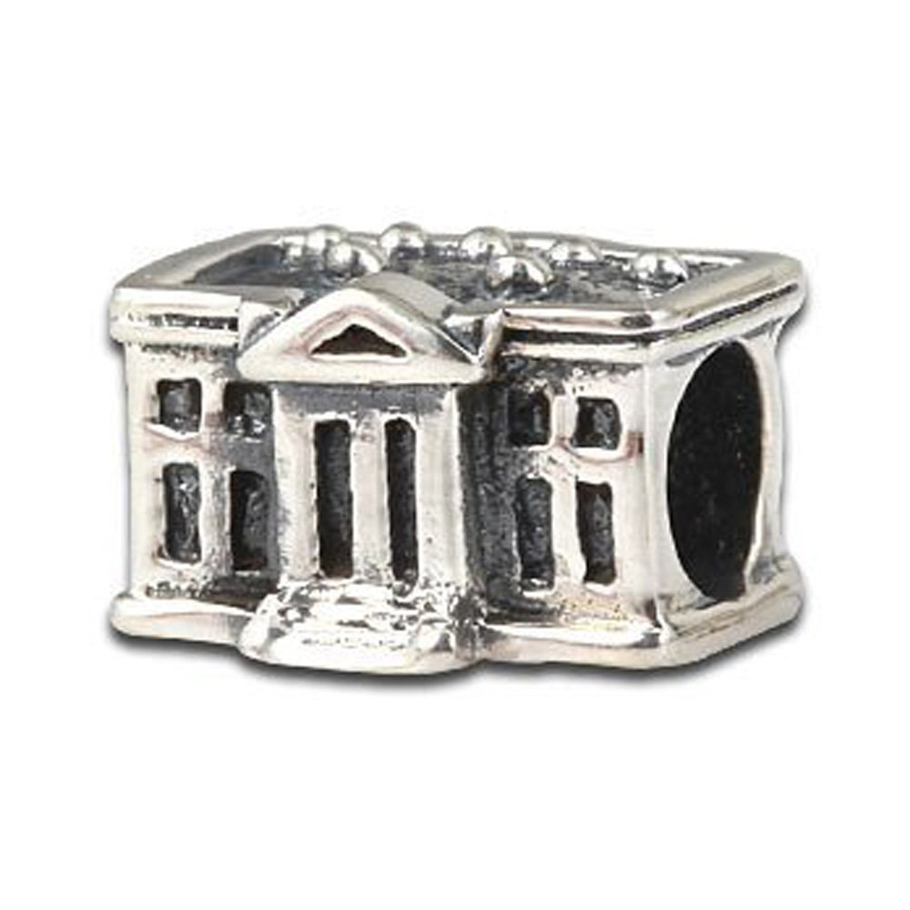 American Flag White House Patriotic Charm beads S925 Sterling Silver Fits DIY European Bracelet