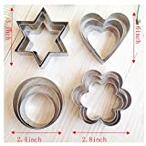 GTI Metal Cookie Cutters Pastry Shapes Set - 12 Pieces, Stars Rounds Love Heart Flowers