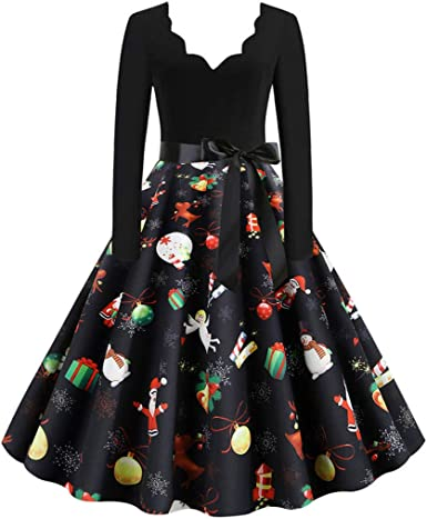 iNoDoZ Party Dress for Women Vintage Long Sleeve Christmas 1950s Housewife Evening Party Gift Prom Dress