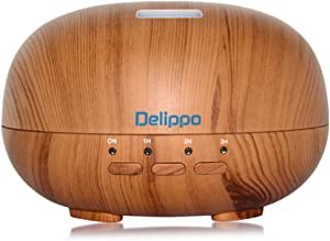 Delippo Cool Mist Humidifier 300ml Wood Grain Essential Oil Diffuser 8 hours Auto Shut-off ,7 Colors fashion Ultrasonic Aroma Humidifier For Home Baby Bedroom Office Yoga Spa