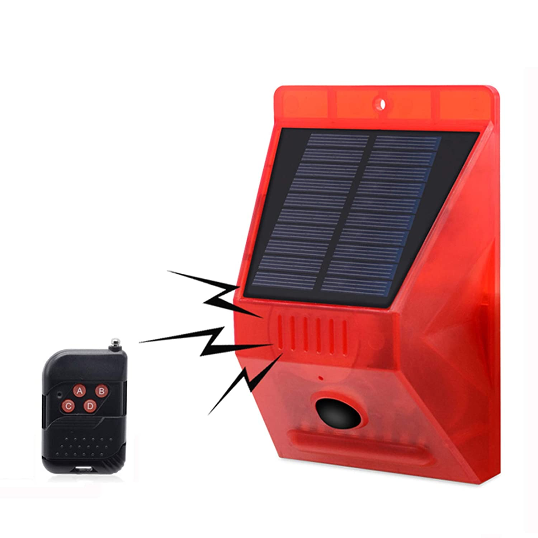 129db Sound Sicherheit Warnleuchte Signale f/ür Haus im Freien KEEDA Bewegungssensor Solar Alarm Blitzlicht Villa Garten Bauernhof Scheune Solar Alarmlampe mit Fernbedienung