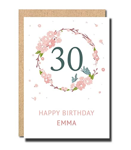 Personalised 30th Birthday Card For Women Floral Funny Sister Her Daughter Handmade Pop Up Prime