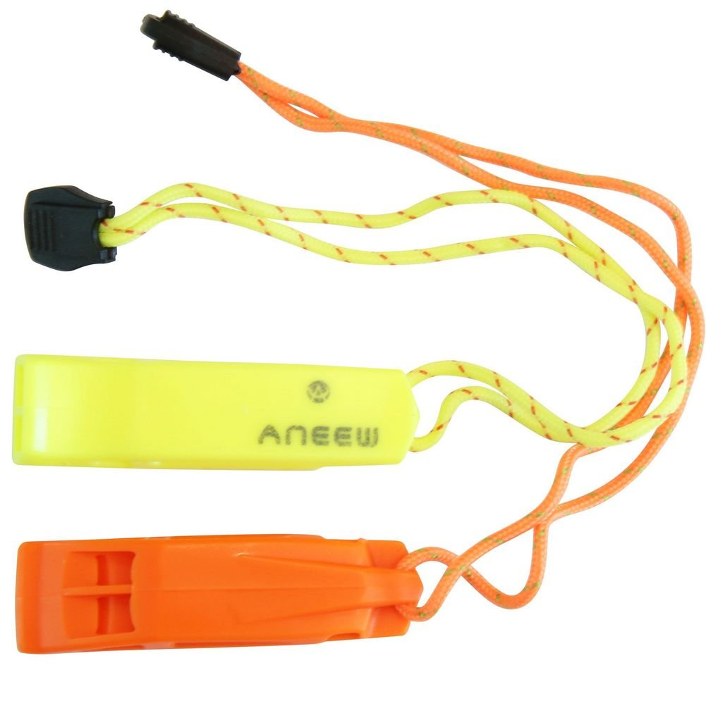 (2 Pack) Safety Whistle Double Tube Loud All Weather for Outdoor Hiking Camping Climbing Boating with Lanyard by Aneew, Emergency Survival Use (Yellow+Orange)