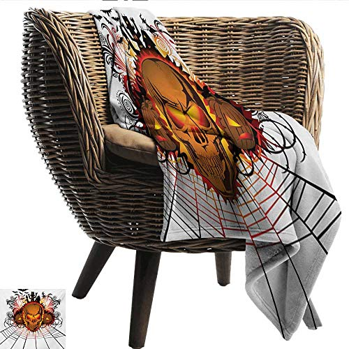 Anshesix Blanket Sheets Halloween Angry Skull Face on Bonfire Spirits of Other World Concept Bats Spider Web Design Lightweight Super Soft Comfort W80 xL60 Sofa,Picnic,Camping,Beach,Everyday -