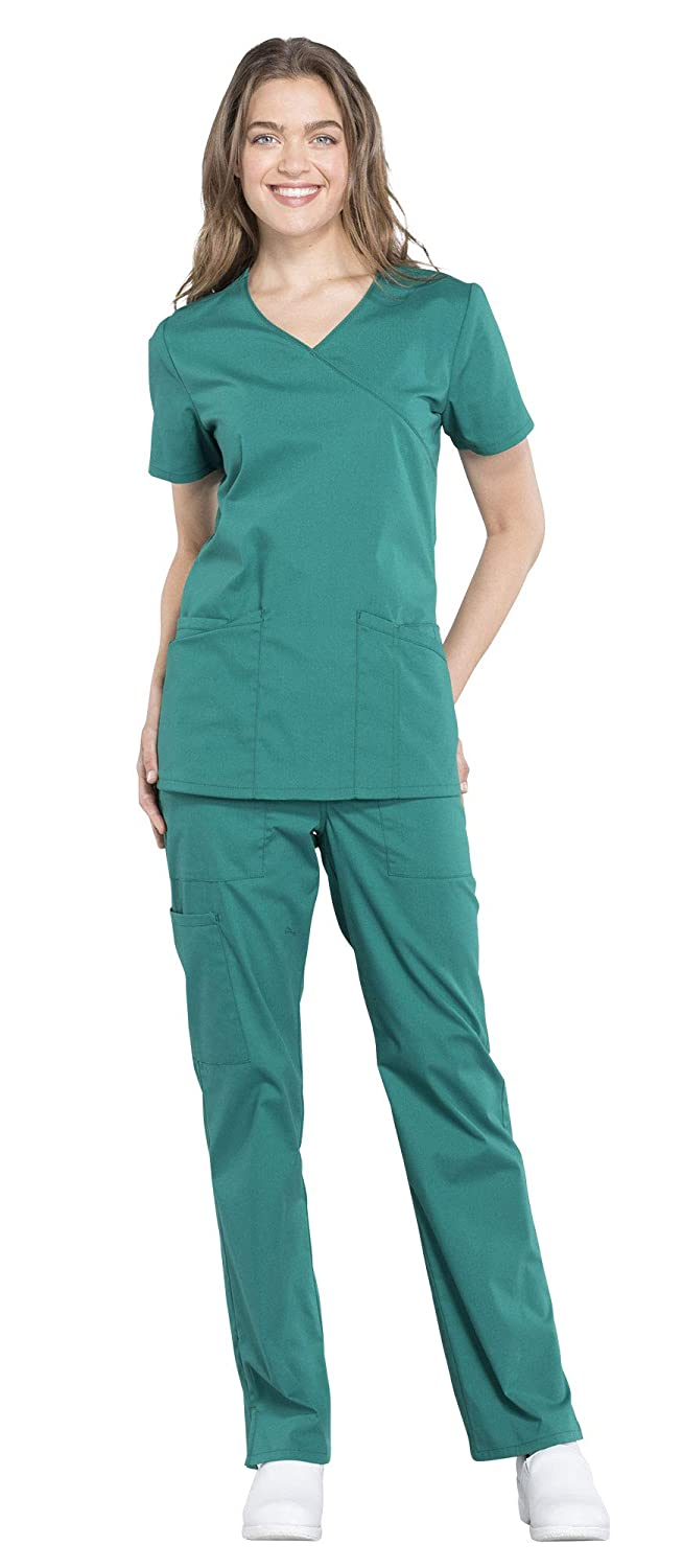 de69a62e16b Cherokee Workwear Professionals Women's Mock Wrap Scrub Top WW655 & Women's  Drawstring Scrub Pants WW160 Medical Uniforms Scrub Set (Hunter Green ...