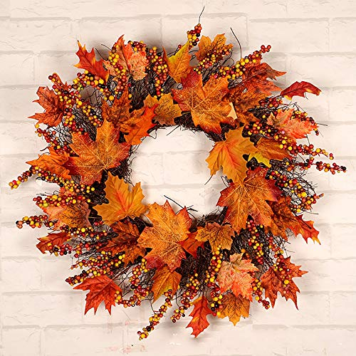 NQXXN Autumn Front Door Wreath, Maple Leaf Berries Thanksgiving Halloween Christmas Wreath, for Home Festival Decor(18 Inch)
