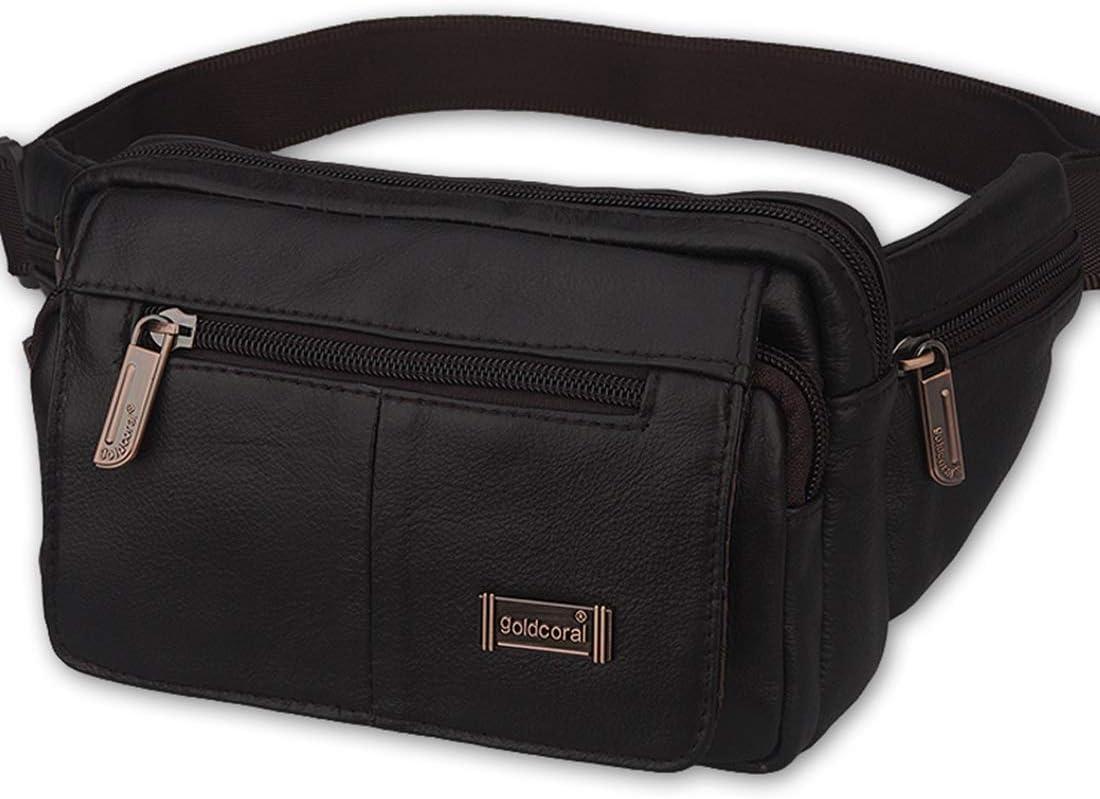 Ejecución de la correa de cuero paquete de la cintura de la bolsa de cuero de vaca de Brown Viajes paquete de la cintura de Crossbody del hombro, negro Versátil bolsas de mensajero negro Paquetes de s