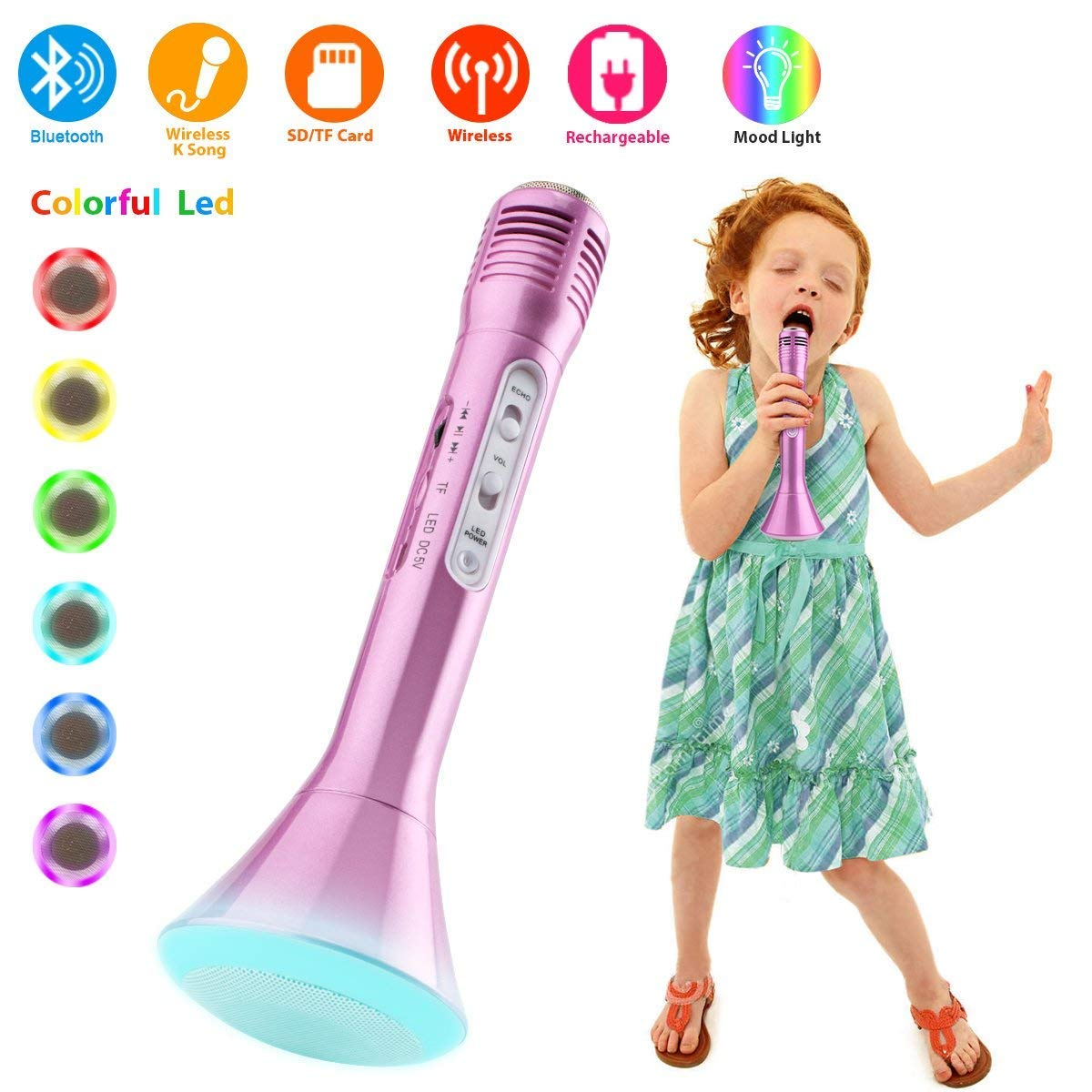 Home Party Ktv Microphone Lautsprecher f/ür iPhone//Android//iPad//PC Smartphone BONAOK Wireless Bluetooth Karaoke Mikrofon Kinder,Tragbares 3 in 1 Karaoke Mikrofon Bluetooth Karaoke Rot