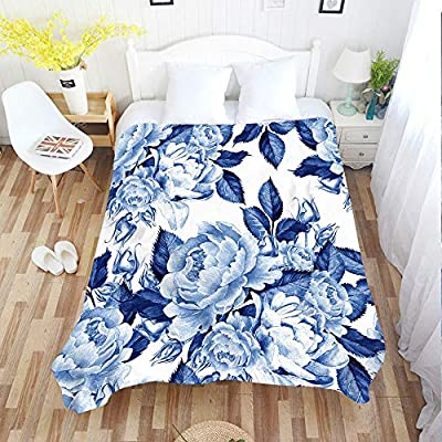 Moslion Floral Blankets Watercolor Blue Ink Peony Flowers Botanical Plant Leaf Roses Throw Blanket 50x60 Inch Soft Flannel Plush Blanket for Couch Bed Boys Girls: Home & Kitchen