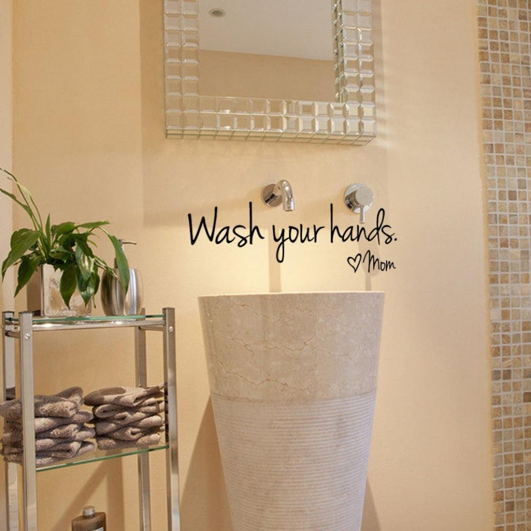 Iusun Wash Your Hands Love Mom Quote Home Decor Bathroom Wall ...