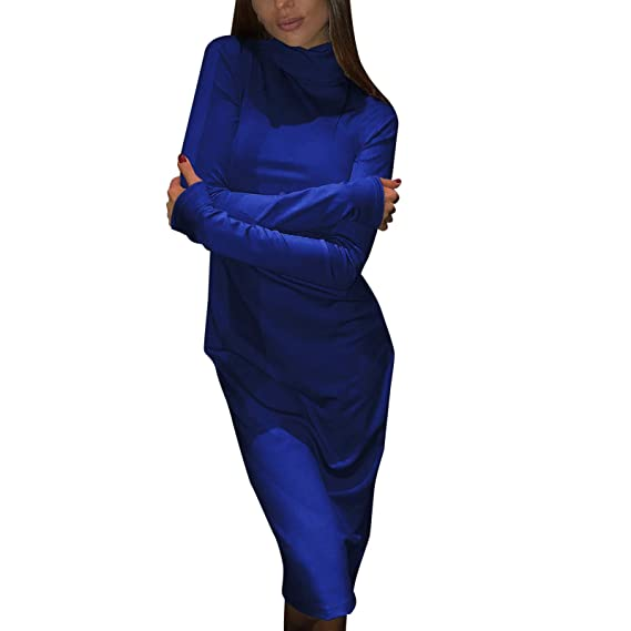 251bc3884 FRAUIT Lápiz Sólido Vestido Más El Tamaño Vestido de Manga Larga de ...