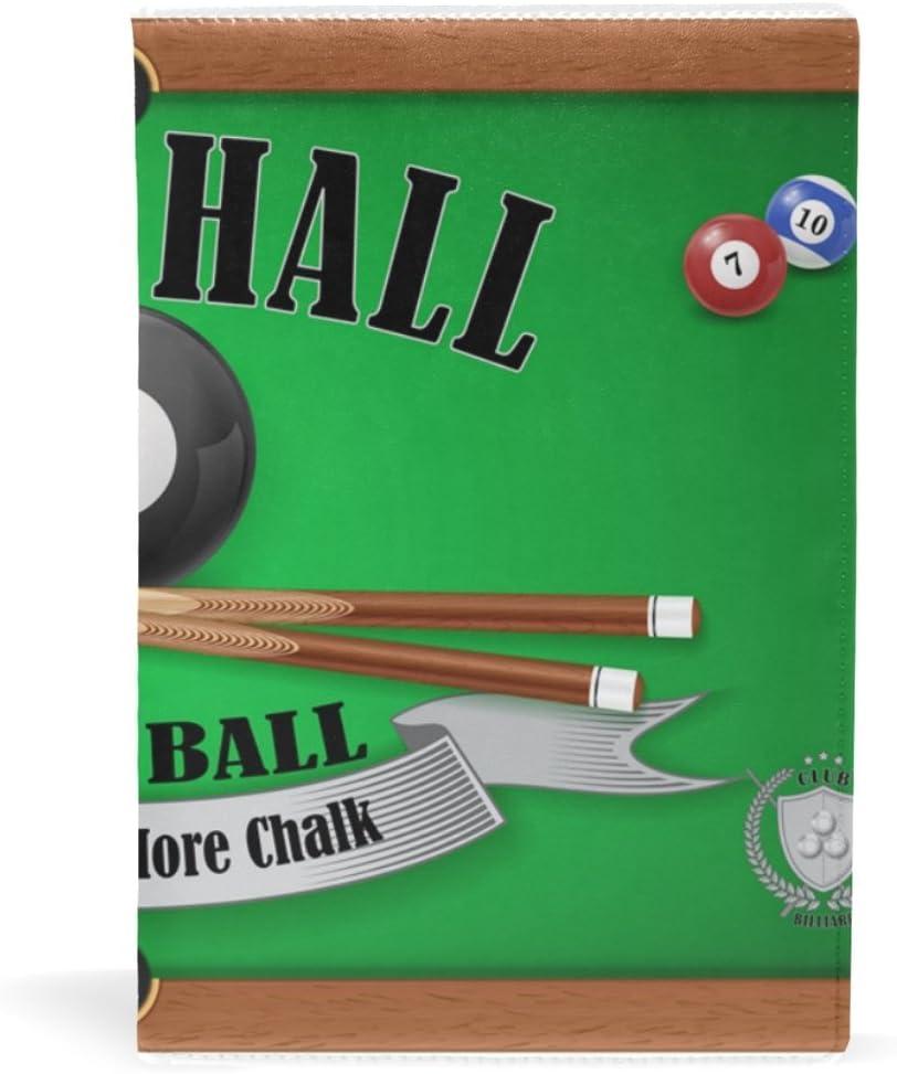 Póster de billar de COOSUN Pool Hall Ocho Bola de cuero libro cubierta Sox Fit la mayoría de cuadernos de texto de 5,8