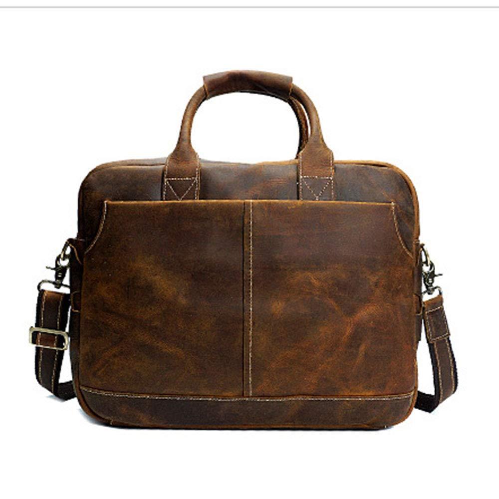 メンズビジネスバッグ メンズブリーフケースソフトレザーラップトップケースプロフェッショナルブリーフケースメンズビジネスバッグ ビジネスブリーフケース (色 : 褐色) B07SG5DYDM 褐色