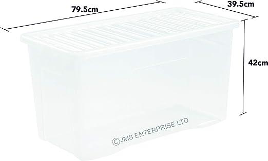 110 litros tamaño Extra grande caja de plástico para almacenamiento (con tapa transparente (paquete de 3 unidades): Amazon.es: Hogar