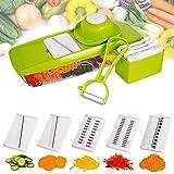 Mandoline Slicer Spiralizer Vegetable Slicer - Empino Veggie Slicer Mandoline Food Slicer with Julienne Grater - Mandoline Cutter - Vegetable Cutter Food Chopper - Vegetable Spiralizer with Peeler