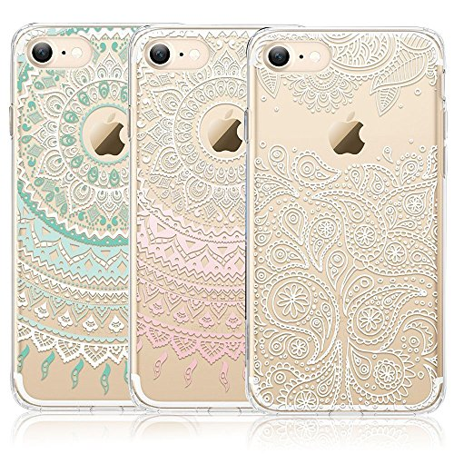 Price comparison product image iPhone 7 Case,  iPhone 8 Case,  CarterLily [3-Pack] Clear Colorful Mandala Henna White Flower Cute Art Pattern TPU Rubber Flexible Slim Skin Soft Scratch Resistant Case for iPhone 7 iPhone 8 4.7 inch 01