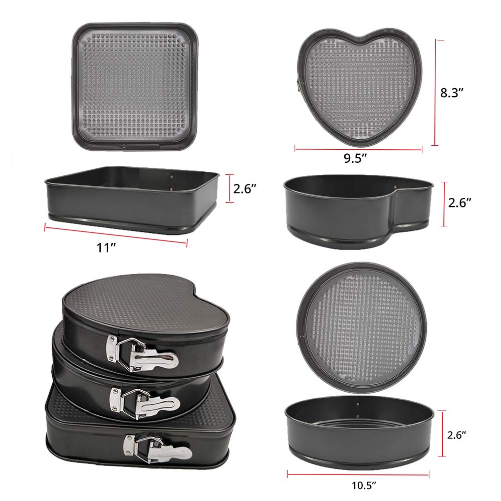 LY-LONGER Nonstick Cake Pan Baking Pan Cheesecake Pan Springform Pan Leakproof Bakeware Chiffon Cake Mould 9.5\'\' 10.5\'\' 11\'\' Set of 3 Square Round Heart-shaped with Removable Bottom for DIY Baking