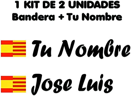 Pegatina Vinilo Bandera España Cataluña + tu Nombre - Bici, Casco, Pala De Padel, Tablas Skate, Coche, Moto, etc. Kit de Dos Vinilos (Negro): Amazon.es: Coche y moto